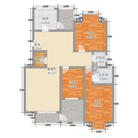 西安印象3室2厅2卫1厨139.00㎡户型图