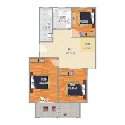 阳光花园3室1厅1卫1厨95.00㎡户型图
