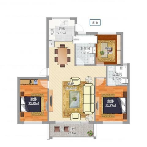 东城华园3室1厅2卫1厨104.00㎡户型图