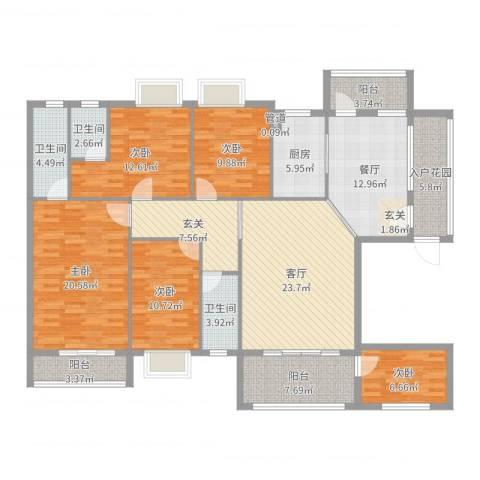 蟠龙御景苑5室2厅3卫1厨178.00㎡户型图
