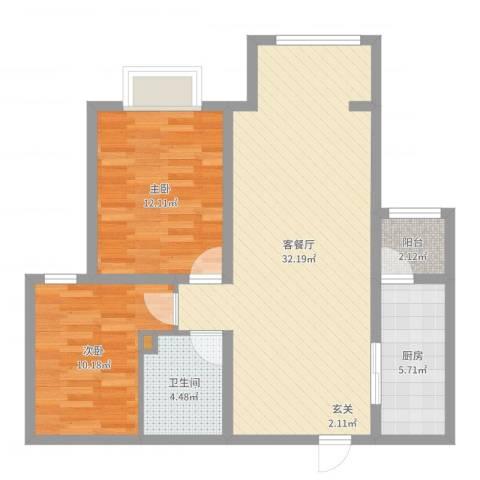 雅绅鸿居2室2厅1卫1厨84.00㎡户型图