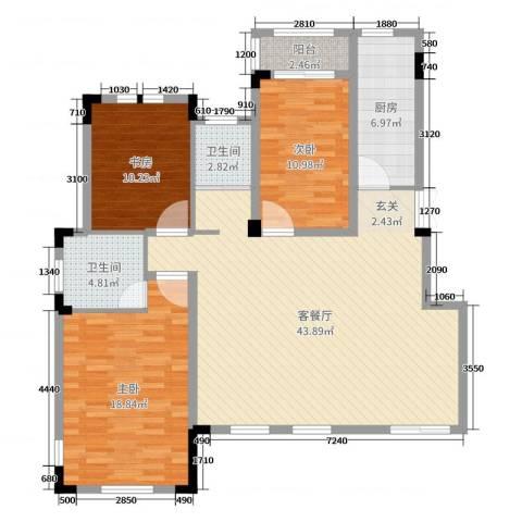 九江国际湾3室2厅2卫1厨127.00㎡户型图