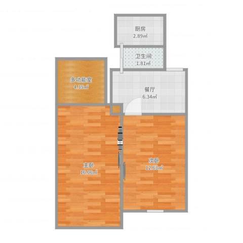 车站南路407弄小区2室1厅1卫1厨55.00㎡户型图