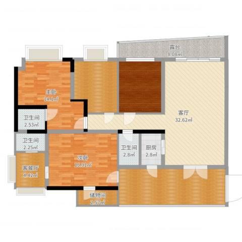 大朗怡景花园2室3厅3卫1厨154.00㎡户型图