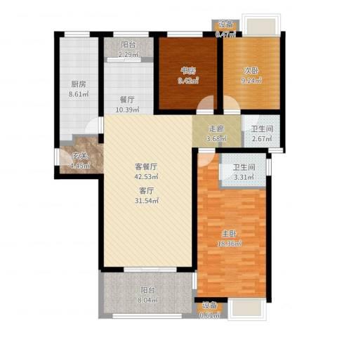 三星凤凰府3室2厅2卫1厨132.00㎡户型图