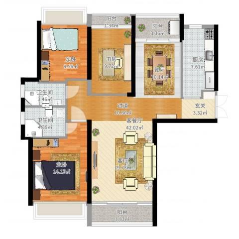 中海名钻3室2厅2卫1厨124.00㎡户型图