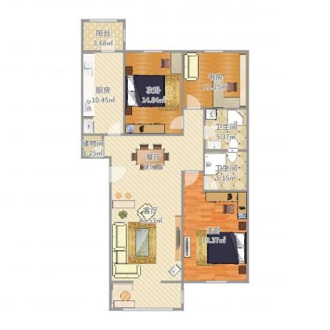 龙跃苑东四区3室1厅2卫1厨144.00㎡户型图
