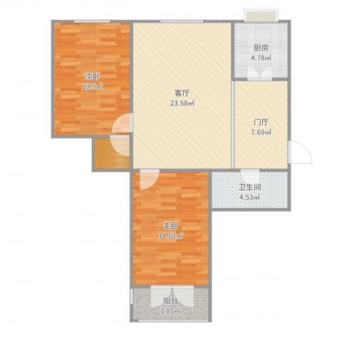 地华里原始图2室1厅1卫1厨93.00㎡户型图