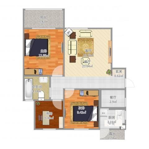 九州理想城3室2厅1卫1厨83.00㎡户型图