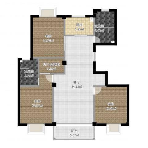 天官和庭3室1厅2卫1厨125.00㎡户型图
