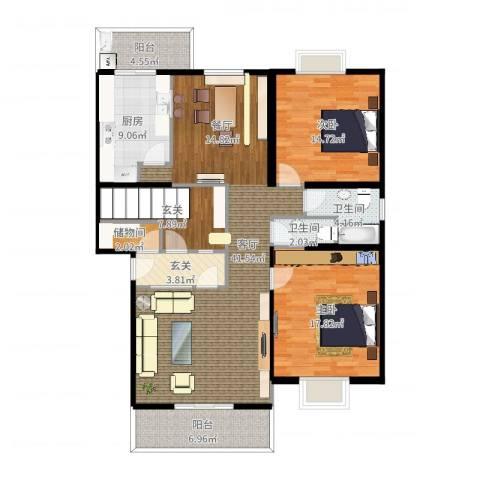 大洋山庄2室1厅2卫1厨114.58㎡户型图