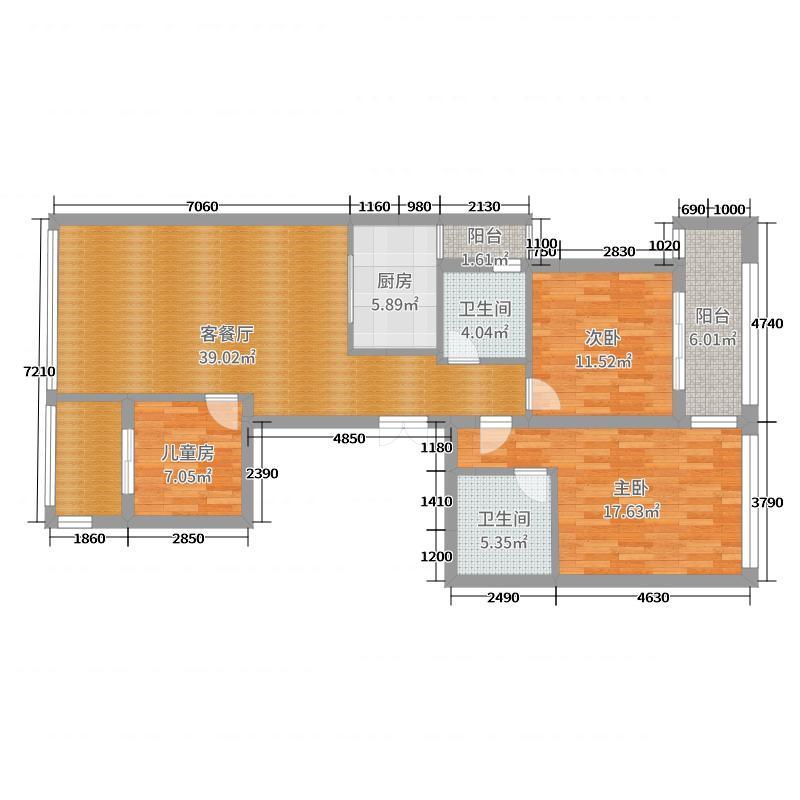 御园7—2—901室平面尺寸图