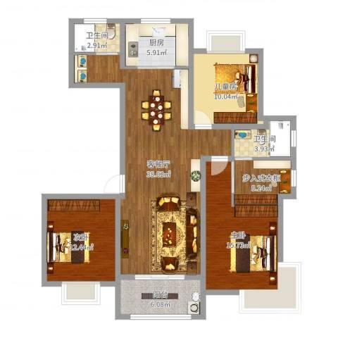 金源世纪名郡3室2厅2卫1厨125.00㎡户型图