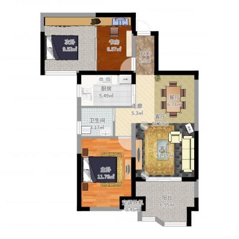 奥克斯盛世华庭3室1厅2卫1厨87.00㎡户型图