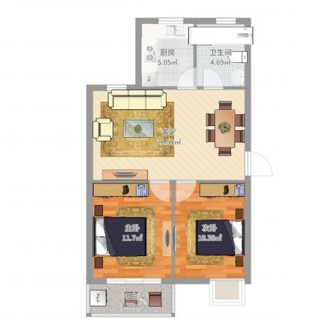 碧水和城2室1厅1卫1厨71.00㎡户型图