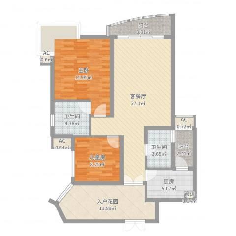 盛世华南2室2厅2卫1厨106.00㎡户型图