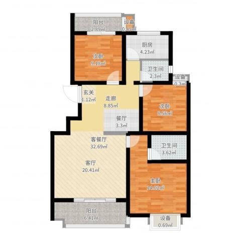 江尚天地3室2厅2卫1厨107.00㎡户型图