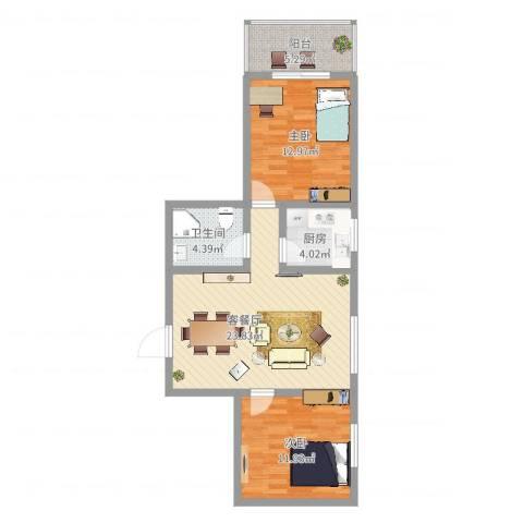 东方绿洲2室2厅1卫1厨90.00㎡户型图