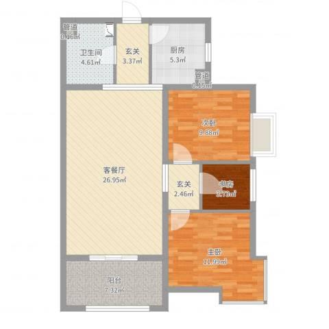启新18893室2厅1卫1厨95.00㎡户型图