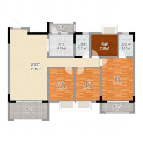 逸湖半岛4室2厅2卫1厨142.00㎡户型图