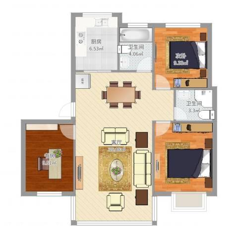 九峰小区长江新花园2室1厅2卫1厨79.93㎡户型图