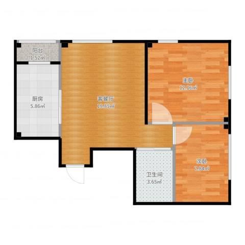 芙蓉花园新区2室2厅1卫1厨62.00㎡户型图