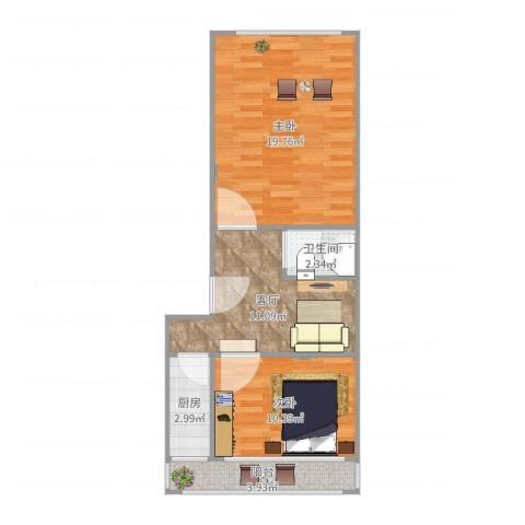 青塔芳园2室1厅1卫1厨63.00㎡户型图