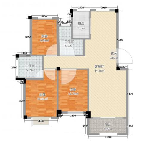 世纪绿城3室2厅2卫1厨132.00㎡户型图