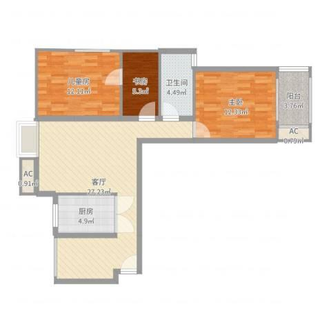 东郡华庭3室1厅1卫1厨90.00㎡户型图