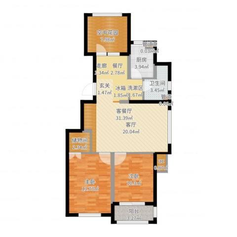 金色玺园2室2厅1卫1厨97.00㎡户型图