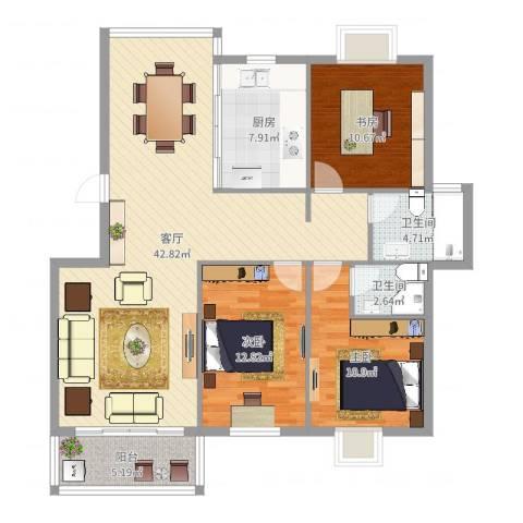 常青藤小城3室1厅2卫1厨122.00㎡户型图
