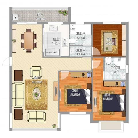 天水家园二期3室1厅3卫1厨125.00㎡户型图