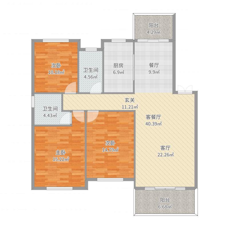 瑞园124平三房两厅两卫