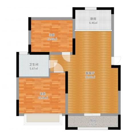 奥体新城2室2厅1卫1厨101.00㎡户型图