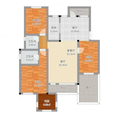 大学里三期2室2厅2卫1厨152.00㎡户型图