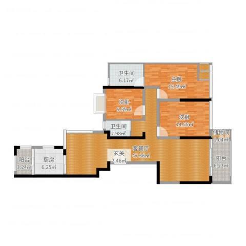 国贸天琴湾3室2厅2卫1厨142.00㎡户型图