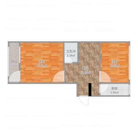 青塔芳园2室1厅1卫1厨59.00㎡户型图