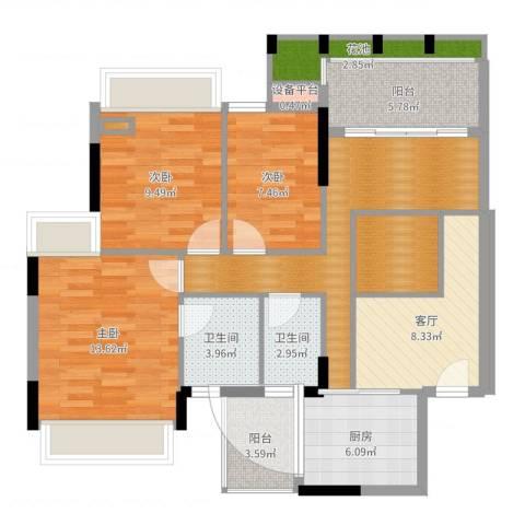 倚绿山庄3室1厅2卫1厨101.00㎡户型图