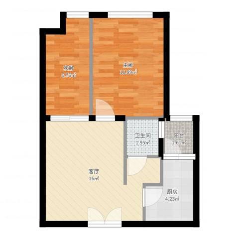 无国界2室1厅1卫1厨53.00㎡户型图