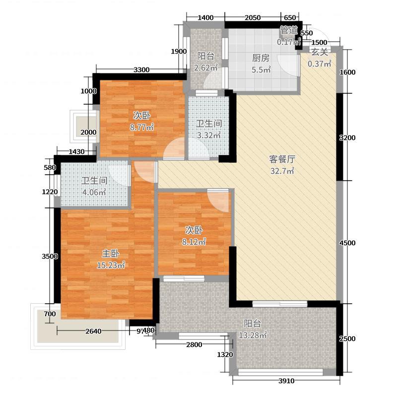华凯逸悦豪庭|大院119.15㎡26号楼02户型3室3厅2卫1厨
