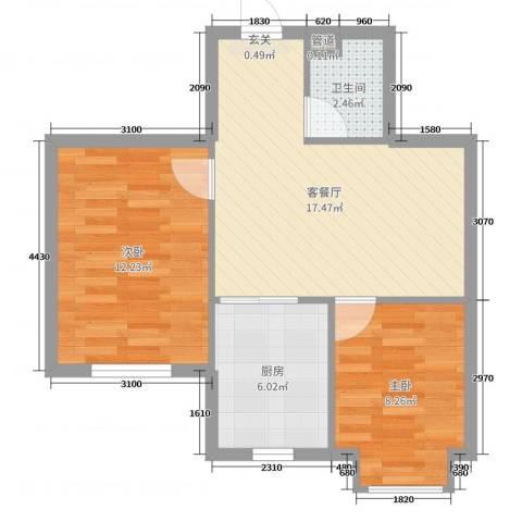 德才家园2室2厅1卫1厨58.00㎡户型图