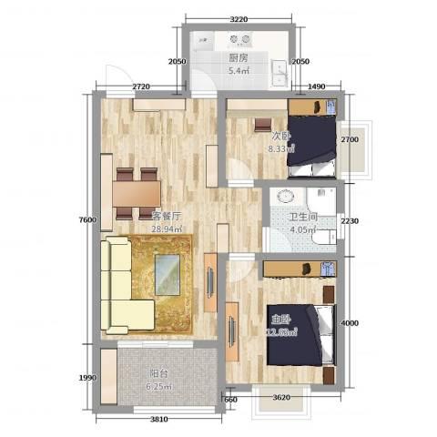 上海浦东新绿洲康城亲水湾雅颂2室2厅1卫1厨82.00㎡户型图