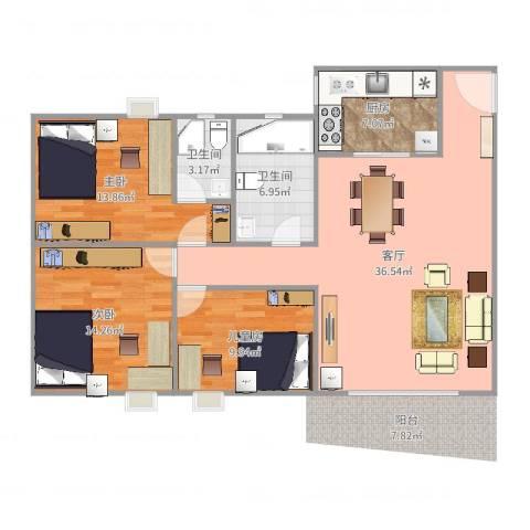 裕福花园3室1厅2卫1厨115.00㎡户型图