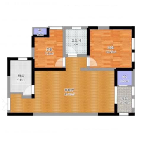 白桦林间2室2厅1卫1厨81.00㎡户型图