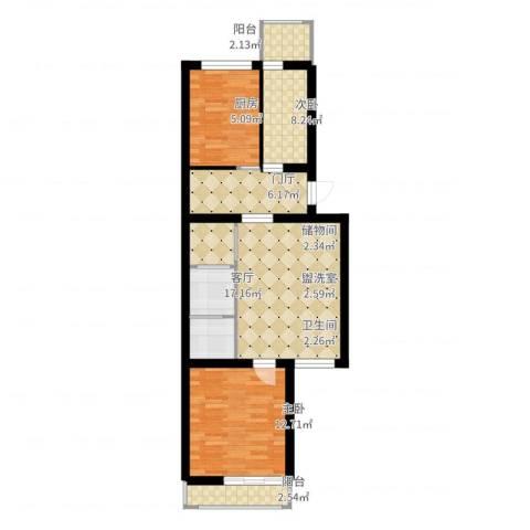 杨庄北区2室3厅1卫1厨77.00㎡户型图