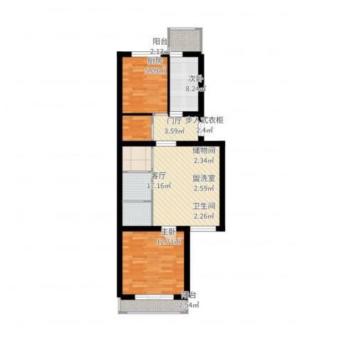 杨庄北区2室3厅1卫1厨91.00㎡户型图