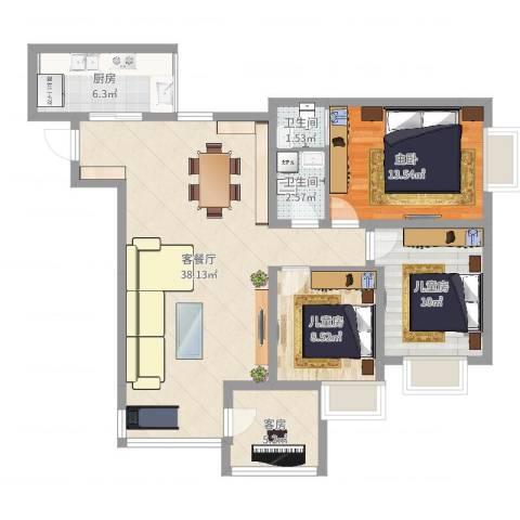 阳光满庭3室2厅2卫1厨107.00㎡户型图