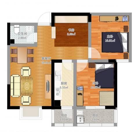 康恒悦麒美寓2室2厅1卫1厨81.00㎡户型图