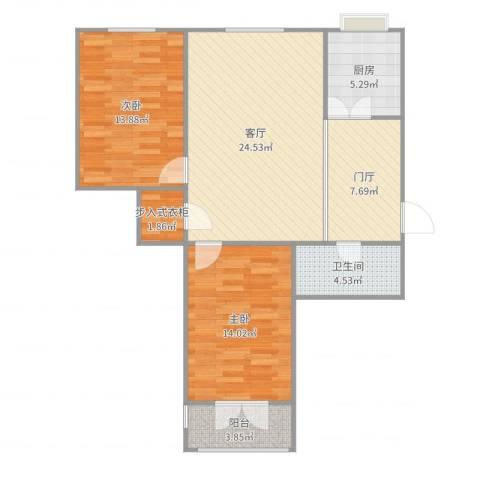 地华里改造图2室1厅1卫1厨95.00㎡户型图