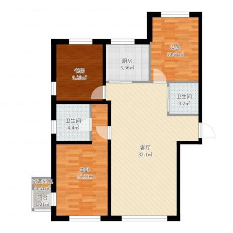 文华街三号院3室1厅2卫1厨82.27㎡户型图